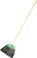 Метла полипропиленовая 400 х 175 мм веерная распушенная, с черенком, Россия// Сибртех