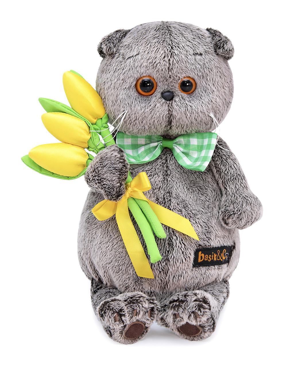 """Мягкая игрушка """"Басик с желтыми тюльпанами"""", 19 см"""
