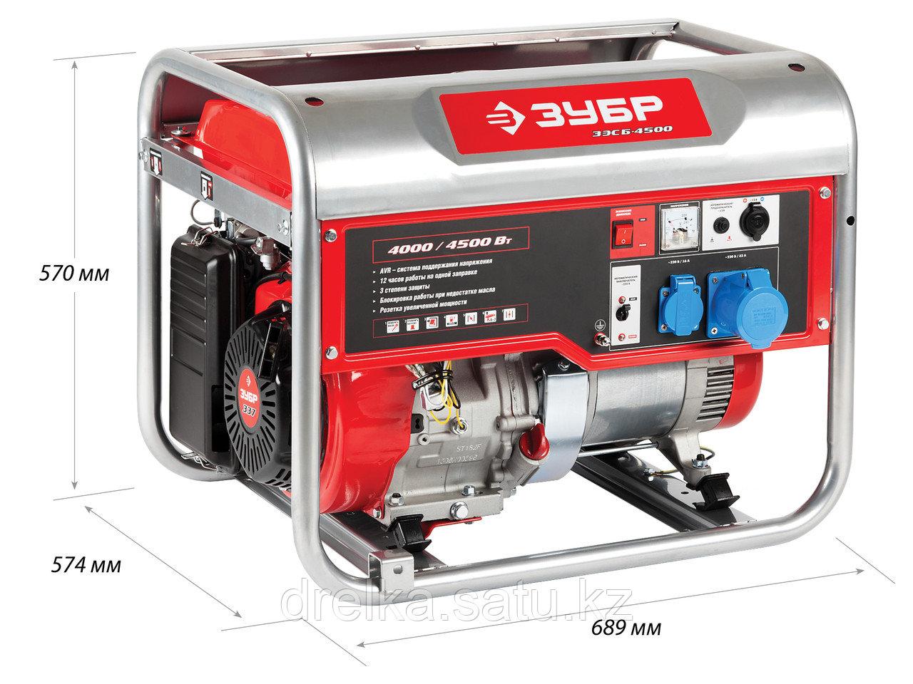 Бензиновый электрогенератор ЗУБР ЗЭСБ-4500, двигатель 4-х тактный, ручной пуск, 4500/4000Вт, 220/12В - фото 2