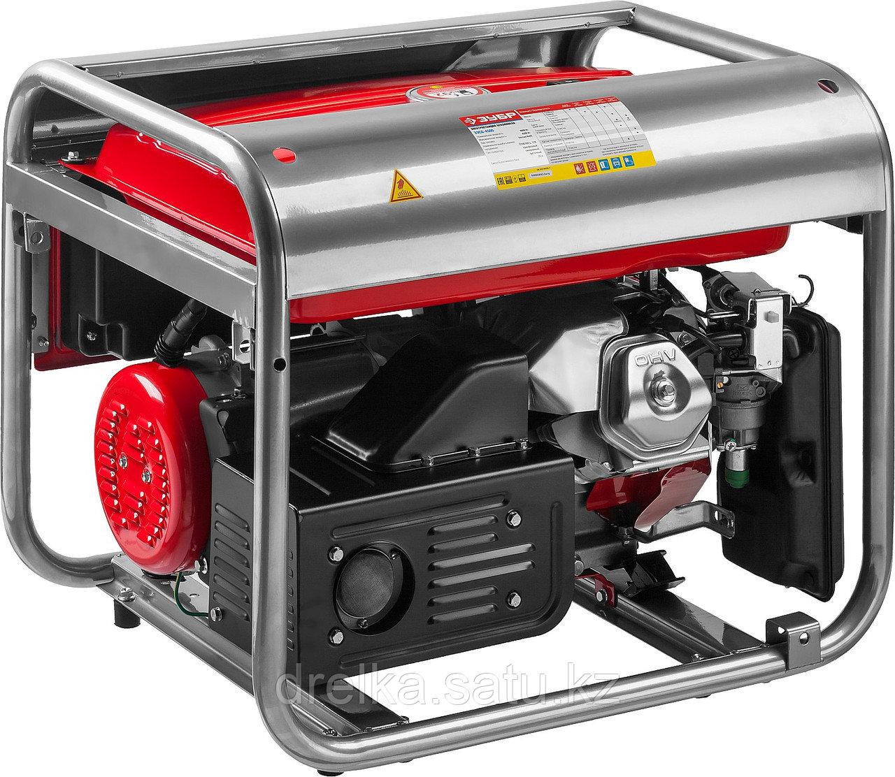 Бензиновый электрогенератор ЗУБР ЗЭСБ-4500, двигатель 4-х тактный, ручной пуск, 4500/4000Вт, 220/12В - фото 3