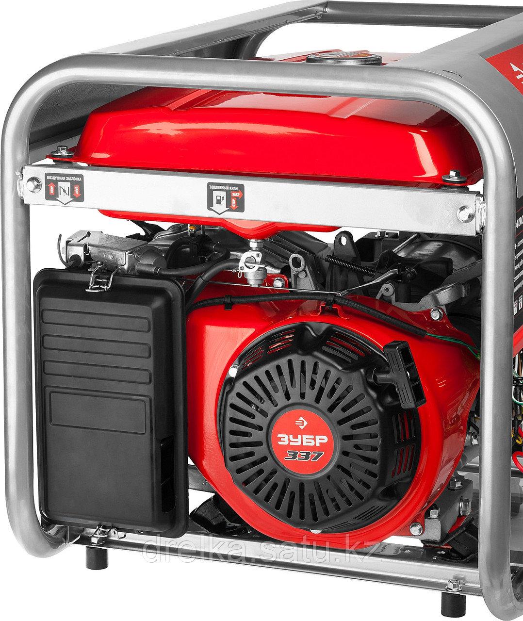 Бензиновый электрогенератор ЗУБР ЗЭСБ-4500, двигатель 4-х тактный, ручной пуск, 4500/4000Вт, 220/12В - фото 5