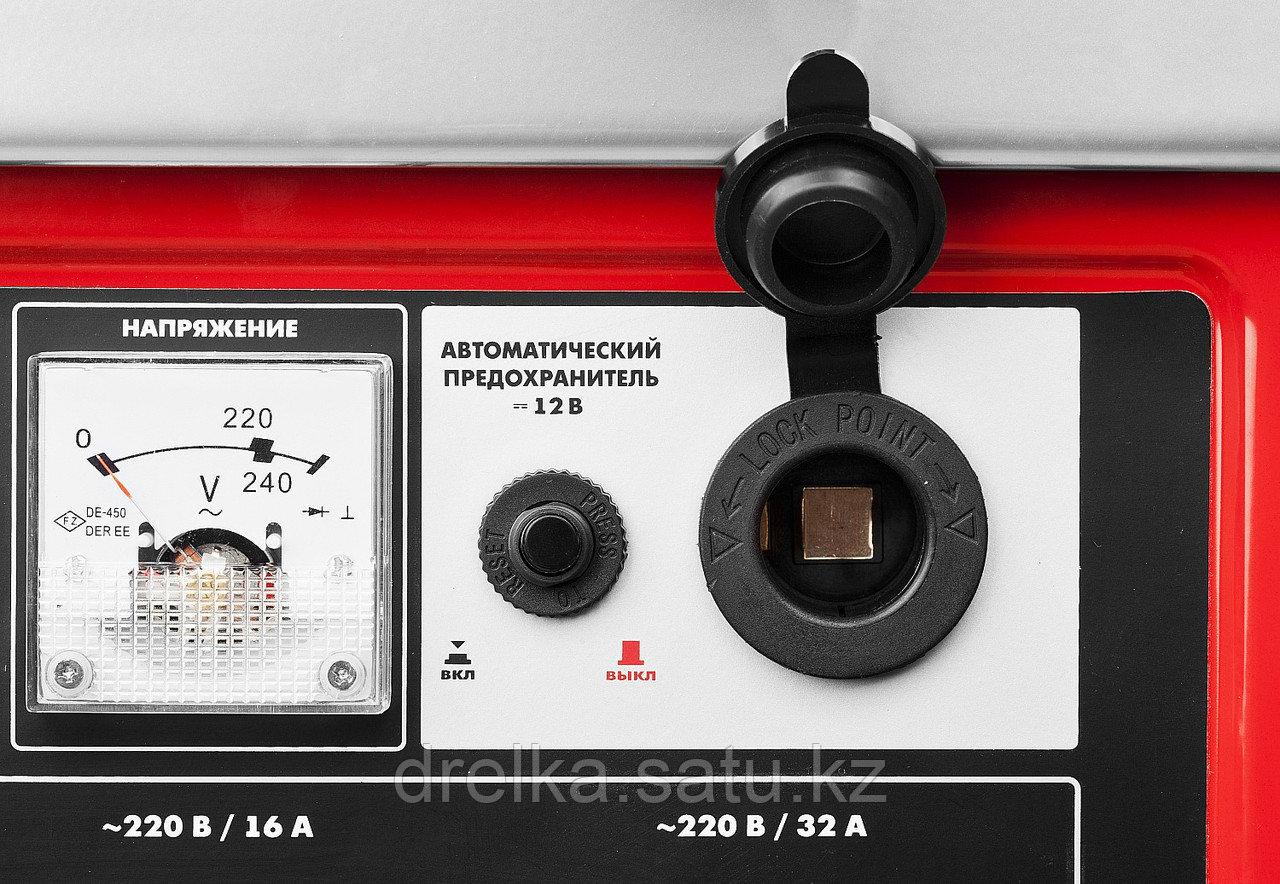 Бензиновый электрогенератор ЗУБР ЗЭСБ-4500, двигатель 4-х тактный, ручной пуск, 4500/4000Вт, 220/12В - фото 8