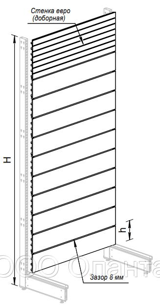 Пристенный металлический торговый стеллаж (1030х570х2250 мм) экономпанель арт. СПЭ-25
