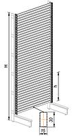 Пристенный металлический торговый стеллаж (1030х570х2250 мм) мультибар арт. СПМ-25