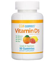 California Gold Nutrition, Органический витамин D3 в жевательных таблетках, без желатина и глютена, ягодное и