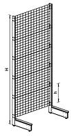 Пристенный металлический торговый стеллаж (1030х570х2250 мм) сетка арт. СПС-25
