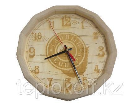"""Часы """"Бочонок - Банный Эксперт"""", логотип в центре, Банный Эксперт"""
