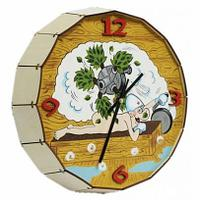 """Часы -бочонок расписные """"Парная машина"""", для бани и сауны, кварцевые, Бацькина баня"""