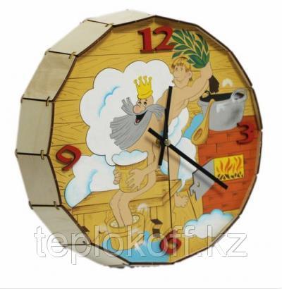 """Часы -бочонок расписные """"Парюсь по-царски"""", для бани и сауны, кварцевые, Бацькина баня"""