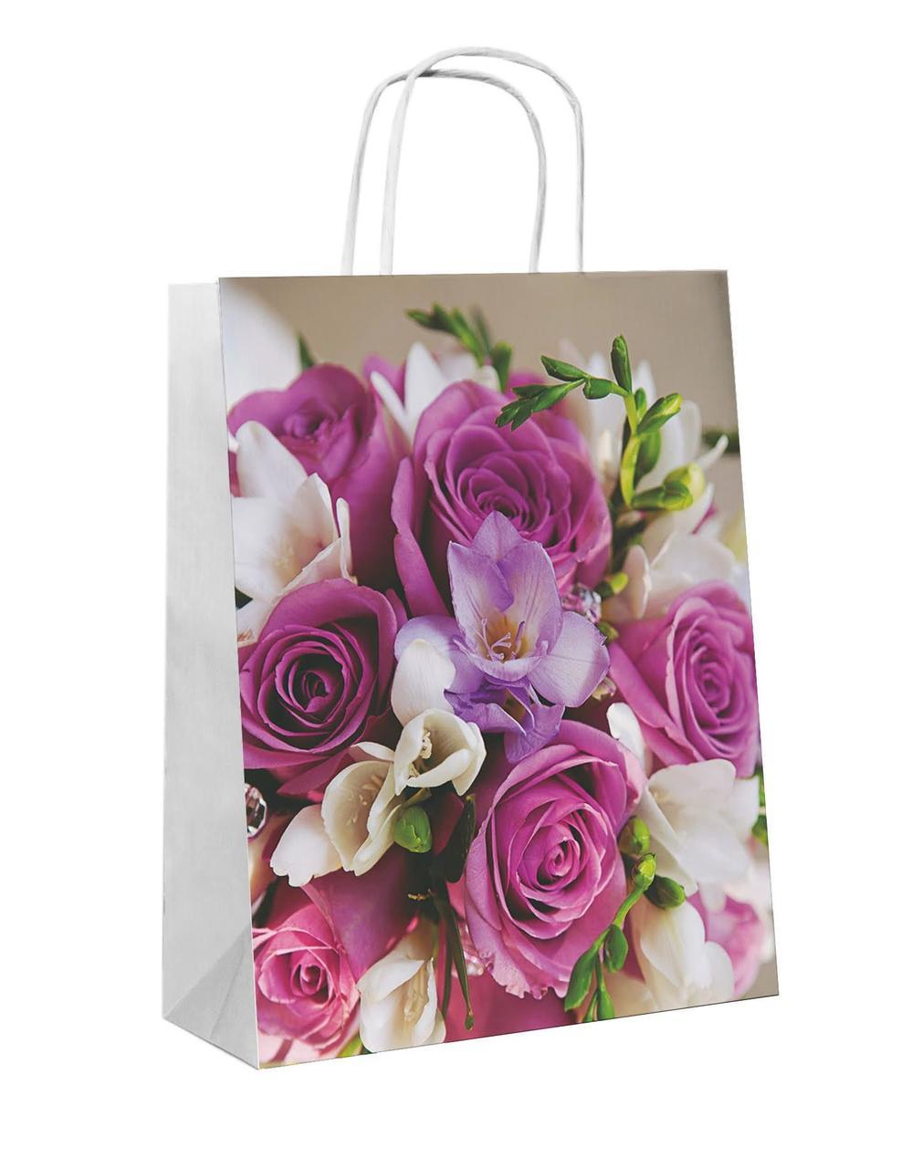 """Пакет-сумка (250+110)х320мм, 90г/м2,крафт белый с кручеными ручками """"Букет"""", 25 шт"""