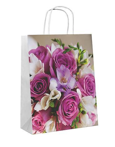 """Пакет-сумка (250+110)х320мм, 90г/м2,крафт белый с кручеными ручками """"Букет"""", 25 шт, фото 2"""