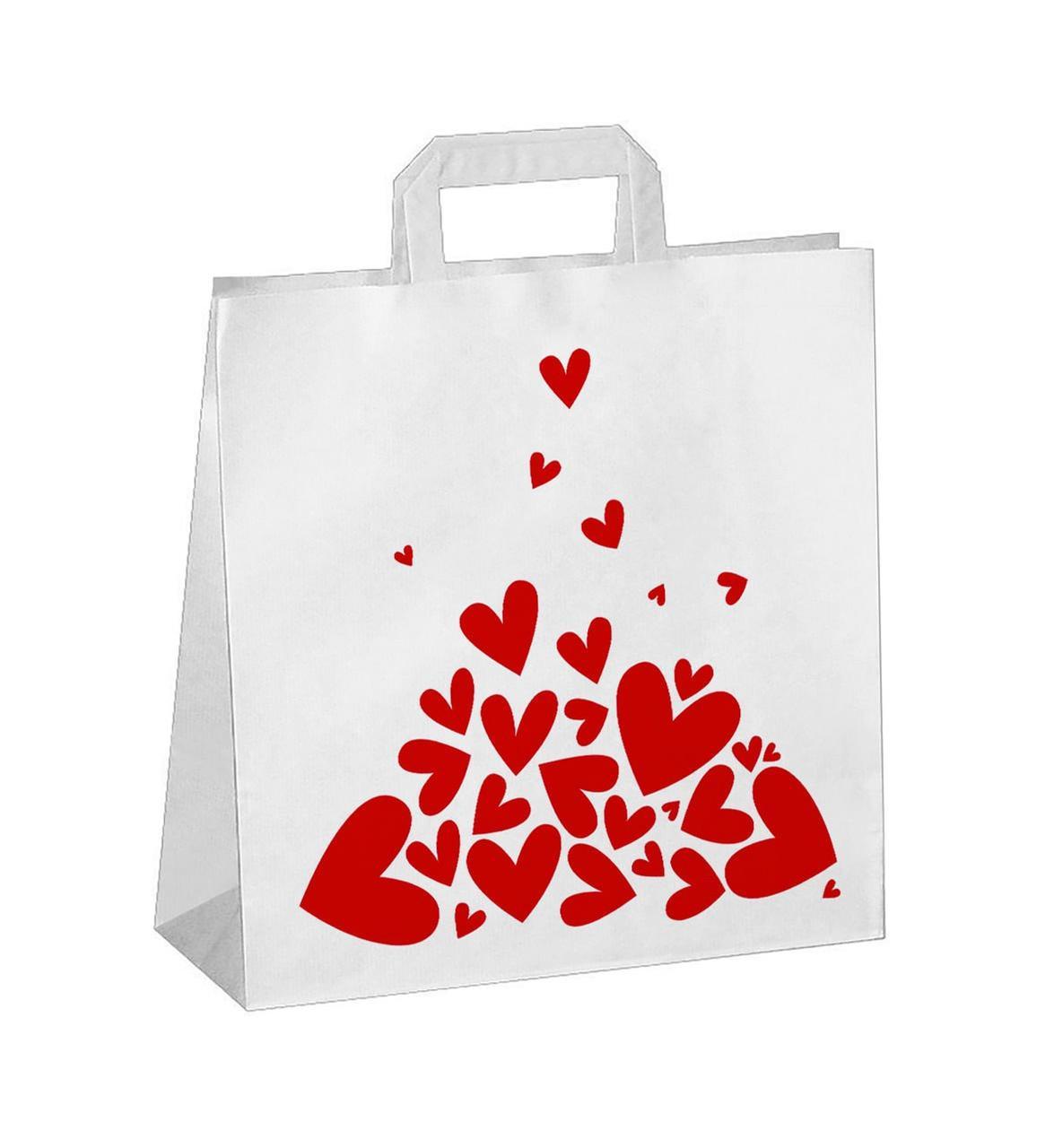 """Пакет-сумка (320+120)х320мм, 100г/м2,крафт белый с плоскими ручками """"Валентинка красная"""", 150 шт"""