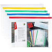 Папка-конверт на молнии Berlingo, A5, 150мкм, прозрачная, ассорти