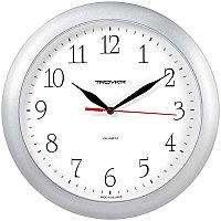 Часы настенные ход плавный, Troyka 11170113, круглые, 29*29*3,5, серебристая рамка