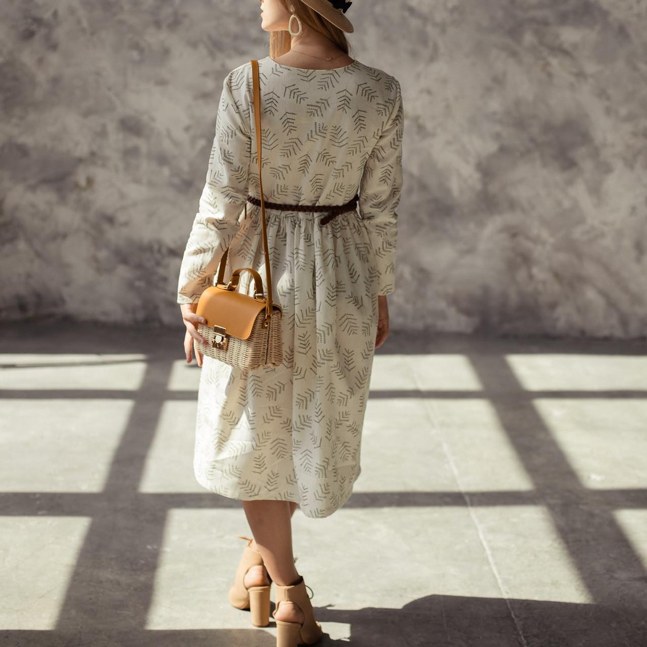 Женское льняное платье миди А-силуэта - фото 2