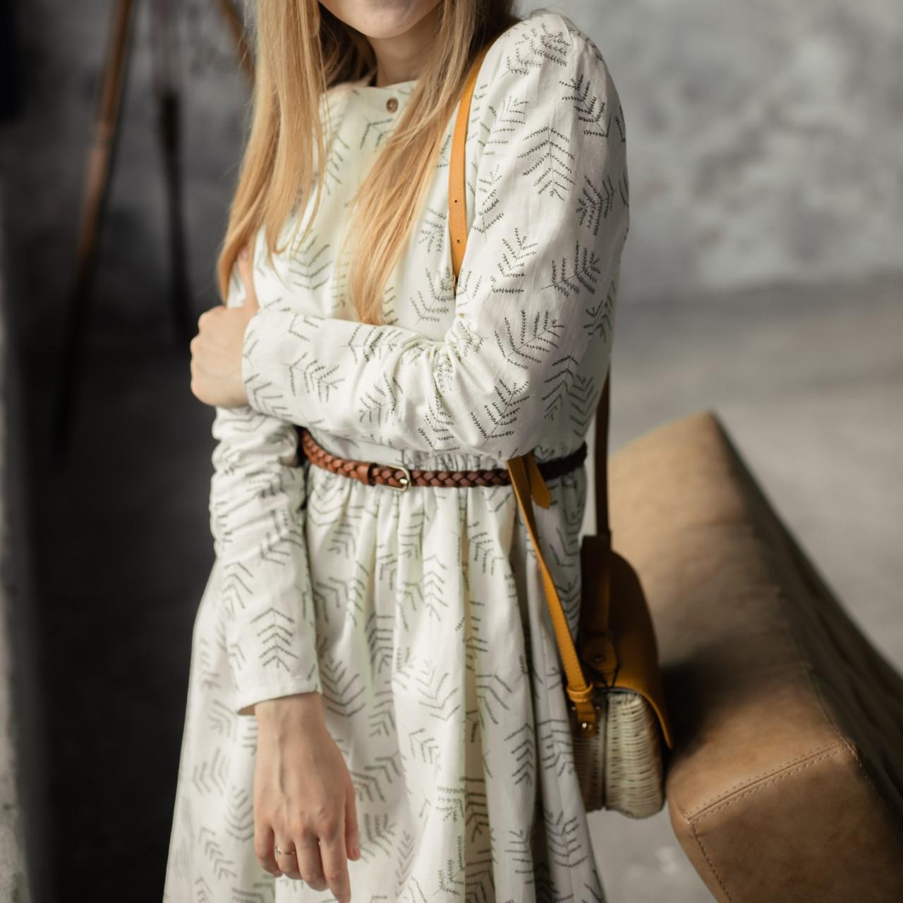 Женское льняное платье миди А-силуэта - фото 3