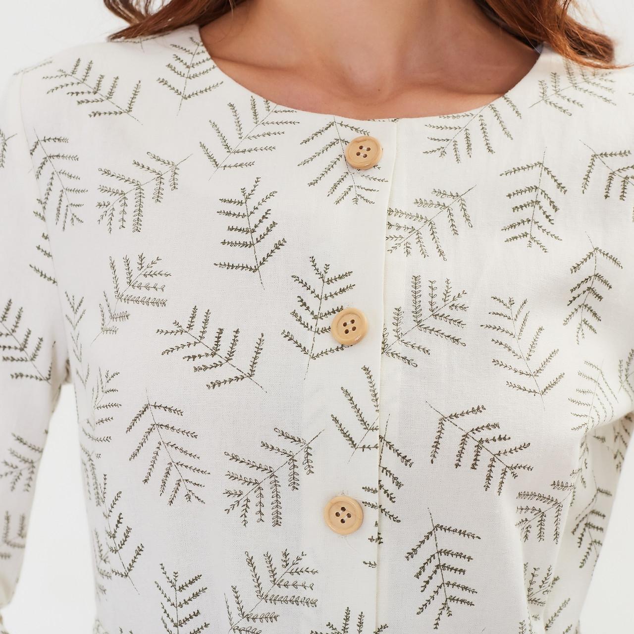 Женское льняное платье миди А-силуэта - фото 5