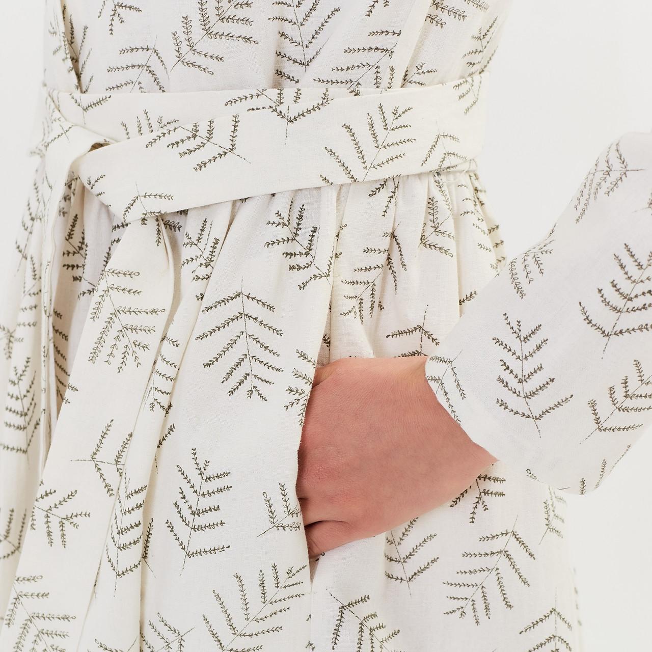Женское льняное платье миди А-силуэта - фото 6