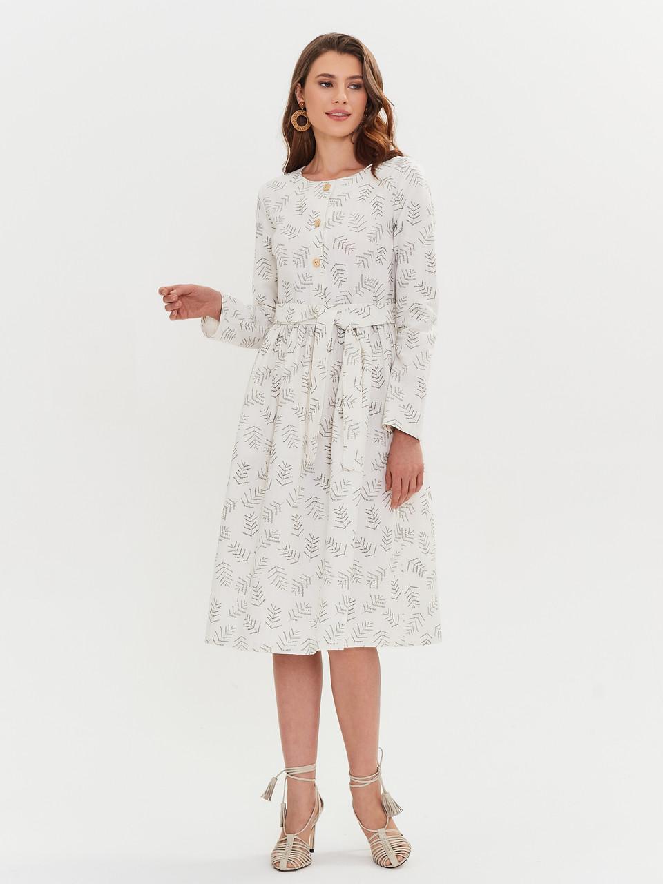 Женское льняное платье миди А-силуэта - фото 7