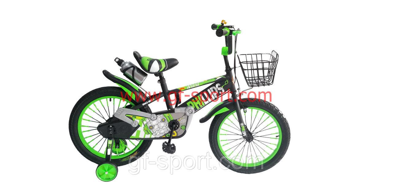 Велосипед Phillips зеленый оригинал детский с холостым ходом 18 размер