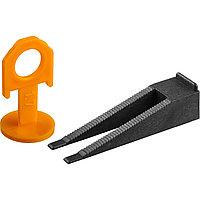 ЗУБР СВП комплект: 50+50шт (клин + зажим), система выравнивания плитки, в пакете. (3383-H50)