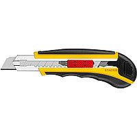 Нож с автозаменой и автостопом с доп. фиксатором HERCULES-18, 3 сегмент. лезвия 18 мм, STAYER (09165_z01)