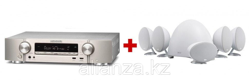 Комплект акустических систем KEF E305 White + Marantz NR1509 Silver Gold