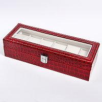 Шкатулка для хранения часов на 6 шт. Croco WINE RED
