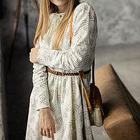 Женское льняное платье миди А-силуэта 42