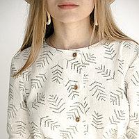 Женское льняное платье миди А-силуэта 46