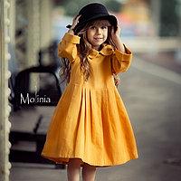 Льняное горчичное платье миди для девочек 146