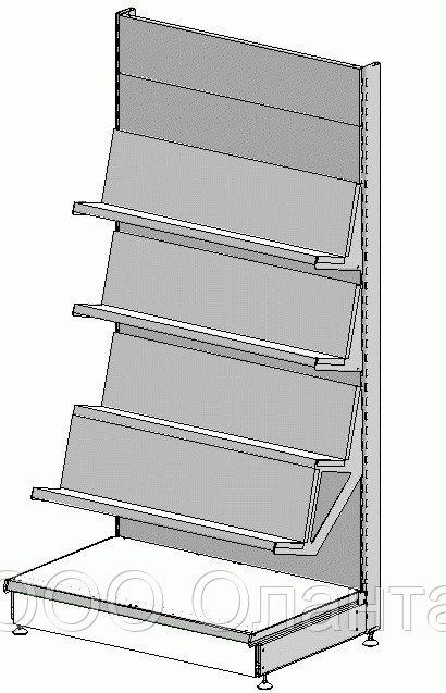 Пристенный металлический книжный торговый стеллаж (1030х570х2250 мм) с наклонными полками арт. СК-25/1