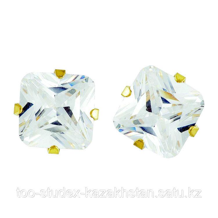 Гипоаллергенные серьги с кубиком циркония 8мм для ношения