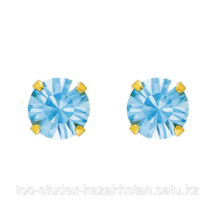 """Гипоаллергенные серьги с кристаллом """"Аквамарин"""" 5 мм для ношения - фото 2"""