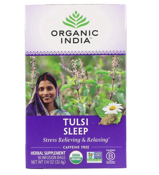 Organic India, Чай с тулси для сна, без кофеина, 18 пакетиков, 32,4 г (1,14 унции)