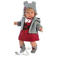 Кукла Llorens Карла блондинка в серой курточке и красном сарафане