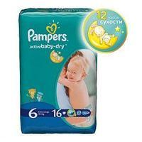 Pampers Подгузники Pampers, Active Baby Extra Large, 6, XXL, 16 шт/упак.