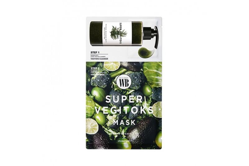 Тканевая маска с детокс-гелем Chosungah By Vibes Wonder Bath Super Vegitoks Mask Green  (Поштучно)