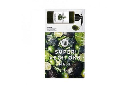 Тканевая маска с детокс-гелем Chosungah By Vibes Wonder Bath Super Vegitoks Mask Green  (Поштучно), фото 2