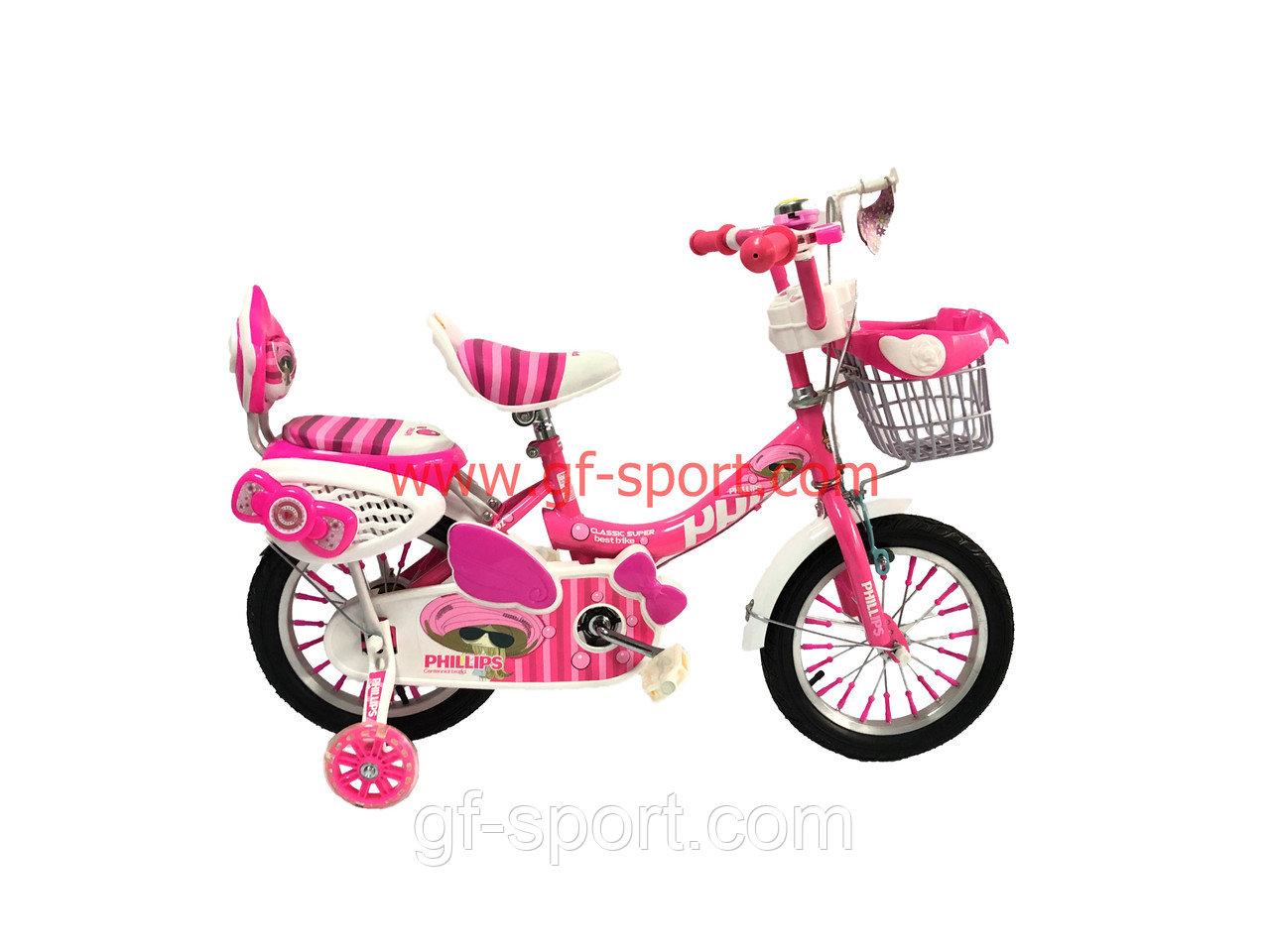 Велосипед Phillips Принцесса розовый оригинал детский с холостым ходом 14 размер