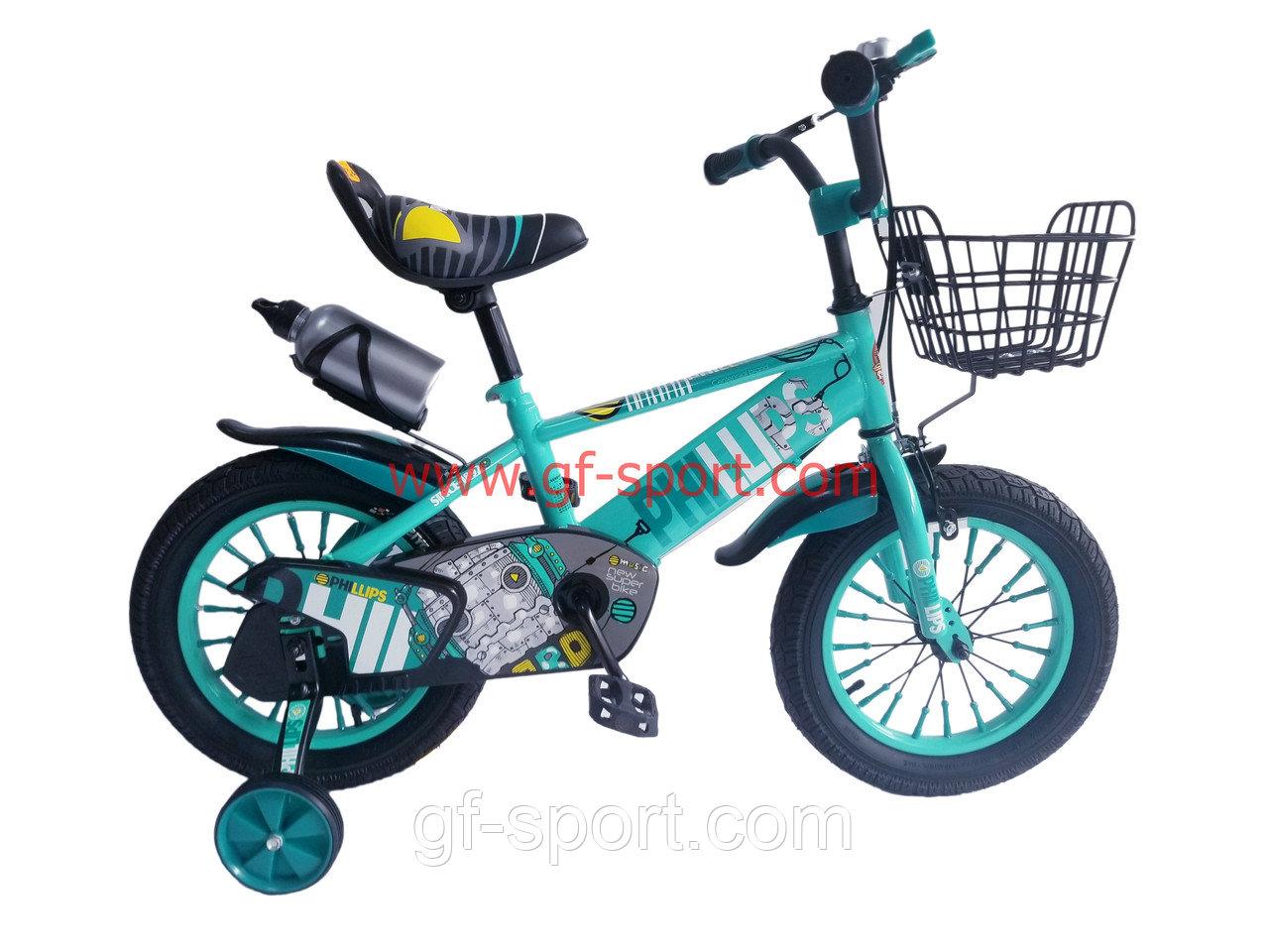 Велосипед Phillips бирюзовый оригинал детский с холостым ходом 14 размер