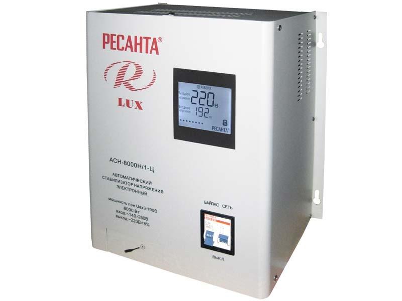 Стабилизатор напряжения серии LUX РЕСАНТА АСН-8000Н/1-Ц