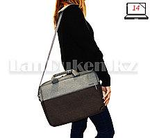Сумка для ноутбука лэптопа 14 дюймов Наплечная сумка для макбука 26 см х 36 см х 6 см  (коричневая) Т52