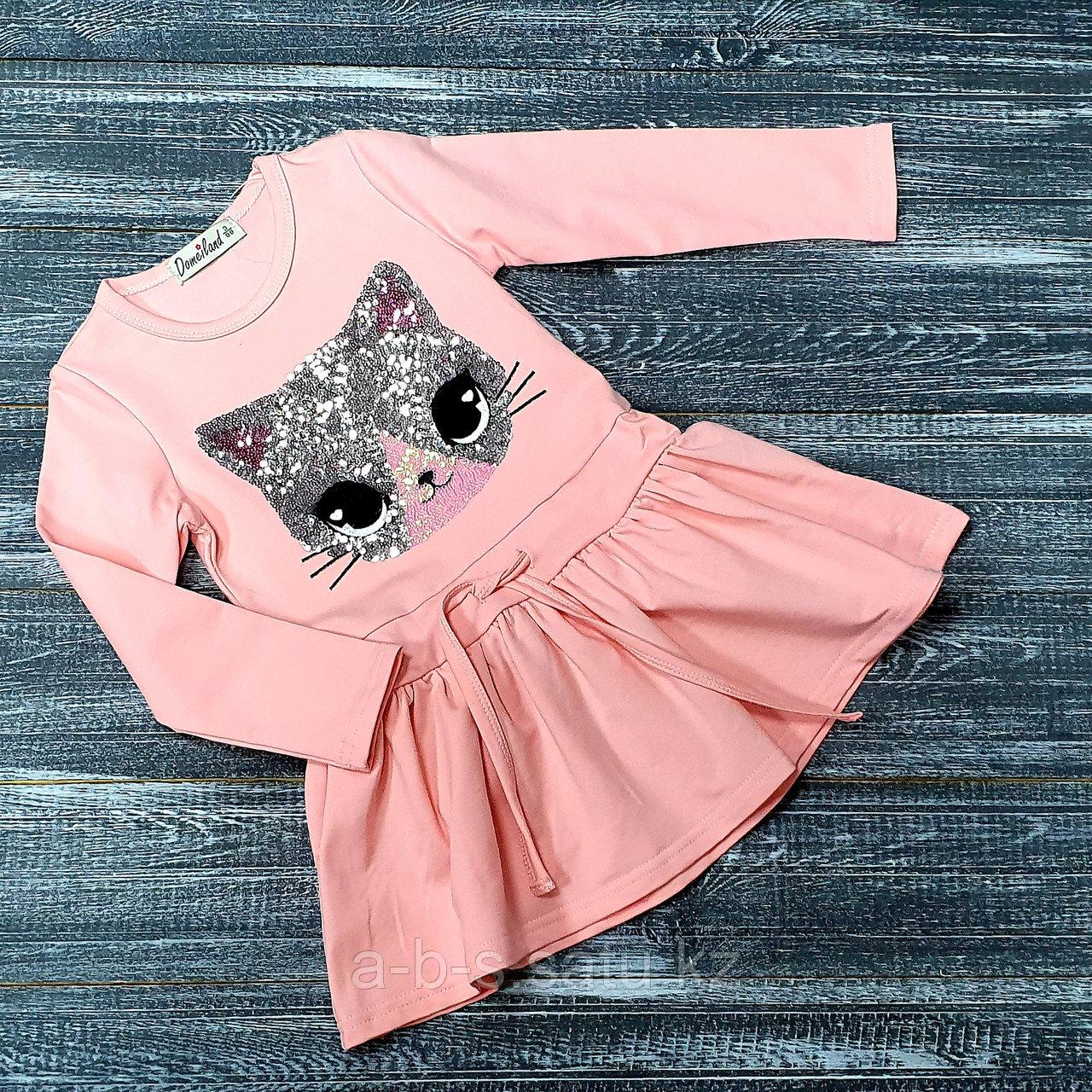 Платье персиковое, кошечка с пайетками