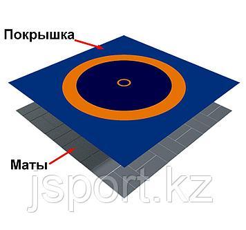 Ковер борцовский трехцветный с покрышкой, толщина матов НПЭ 5 см (комплект) 10м х 10м
