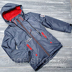 Куртка серо- красная