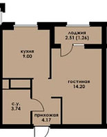 1 комнатная квартира в ЖК Inju Arena 32.86 м², фото 1
