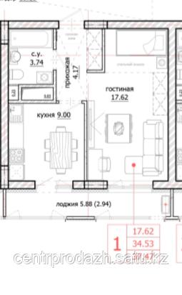 1 комнатная квартира в ЖК Inju Arena 37.47 м²