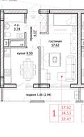 1 комнатная квартира в ЖК Inju Arena 37.47 м², фото 1