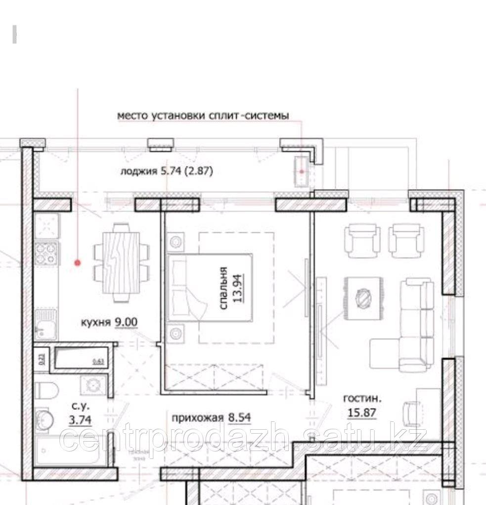 2 комнатная квартира в ЖК Inju Arena 53.96 м²